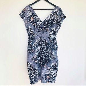 Tracy Reese Gray Floral Silk Blend Bow Dress Sz 8